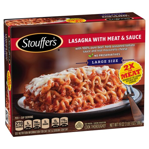 stouffers satisfying servings lasagna with meat  sauce 19
