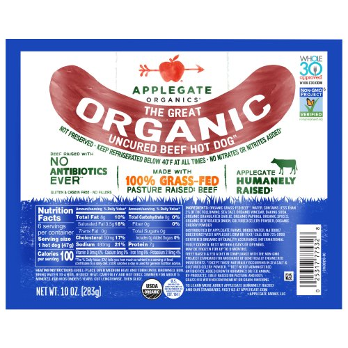 Applegate The Great Organic Uncured Beef Hot Dog 10 00 oz