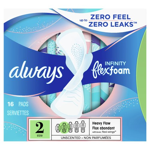 always infinity unscented super pads with wings size 2 16 00 ct